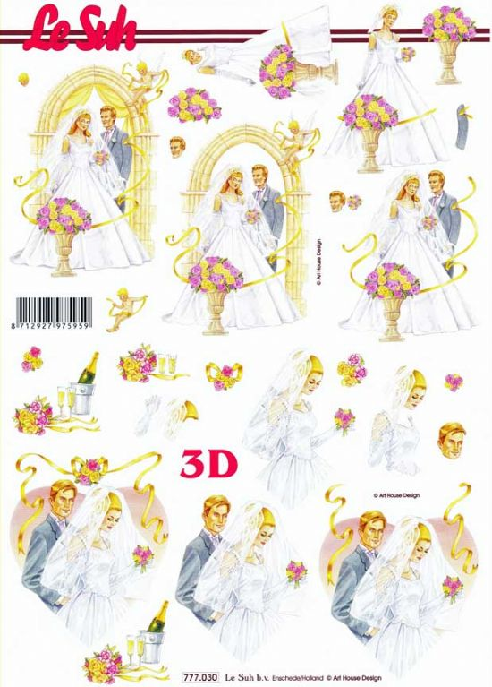 Wedding Day Le Suh 3d Decoupage Sheet